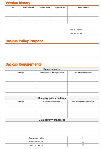 Backup Policy Template preview
